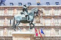 King Philip III statue, Plaza Mayor, Madrid, Spain, Europe