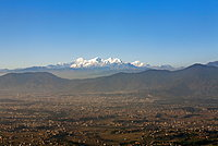 The entire Kathmandu Valley and city with a backdrop of the Himalayas, Nepal, Asia