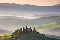 Misty dawn view towards Belvedere, across Val d'Orcia, UNESCO World Heritage Site, San Quirico d'Orcia, near Pienza, Tuscany, Italy, Europe