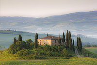 Misty dawn view towards Belvedere across Val d'Orcia, UNESCO World Heritage Site, San Quirico d'Orcia, near Pienza, Tuscany, Italy, Europe