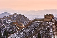 Sunset over the Jinshanling and Simatai sections of the Great Wall of China, Unesco World Heritage Site, China, East Asia