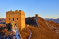 Sunlit towers of the Jinshanling and Simatai sections of the Great Wall of China, Unesco World Heritage Site, China, East Asia