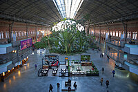 Train; Station; Atocha; Architecture; Modern; Palace; Building; Madrid; Travel; Gate; Scale; Garden; Tropical; People; Lifestyle; Door; Horizontal