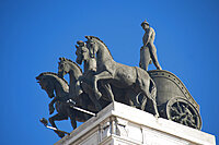 Statue, BBVA Palace, Calle Alcalà, Madrid, Spain, EuropePalace; Calle; Towers; Modern; Hyistoric; Build; Madrid; Spain; Europe; Alcala; Statue; Cityscape; Architecture; Square; Building; Business; Shopping; Store; Skyscraper; Bank; Horizontal;