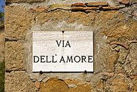 Street sign, Pienza, Val D'Orcia, Tuscany, Italy, Europe