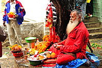 Hindu guru at Dakshinkali Temple in Dhasain Festival, Kathmandu Valley, Nepal