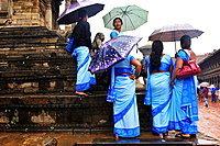 Women in blue sarees, Durbar Square, Bhaktapur, Nepal