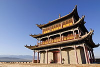 Jiayuguan fortress with gatehouse at the western end of the Great Wall, Silk Road, Gansu, China, Asia