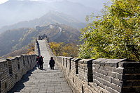 People walking over the Great Wall of China near Mutianyu, autumnal colours, near Beijing, China, Asia