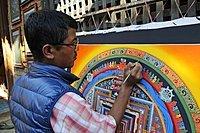 Painter creating a Thangka picture, Changu Narayan, Kathmandu Valley, Nepal, Asia