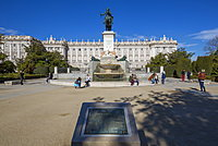 View of Monumento a Felipe IV and Royal Palace on bright sunny morning, Madrid, Spain, Europe