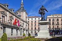 View of Casa de La Villa in Plaza de la Villa on bright sunny morning, Madrid, Spain, Europe