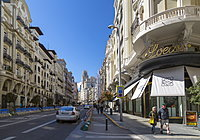 View of shops and traffic on Gran Via, Madrid, Spain, Europe