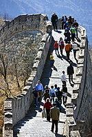 Tourists walk the ancient Great Wall of China at Mutianyu, north of Beijing, China