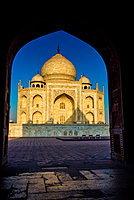 View of the Taj Mahal through a doorway, UNESCO World Heritage Site, Agra, Uttar Pradesh, India, Asia