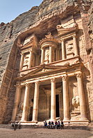 Tourists in Front of the Treasury, Petra, Jordan