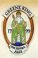 Porcelain relief, Greene King on the wall of the pub, Rectory Road, Bluntisham, Cambridgeshire, England, United Kingdom, Europe
