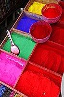 Color pigments, Pashupatinath, Kathmandu, Kathmandu Valley, Nepal, Asia