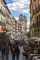 View of Al Fresco restaurants on Calle de Toledo from Calle Mayor, Madrid, Spain, Europe
