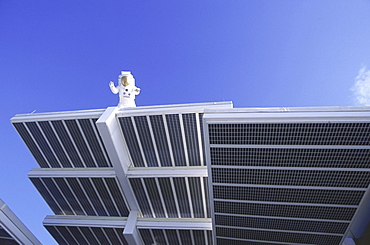 Solar panels on display at the Kennedy Space Center.