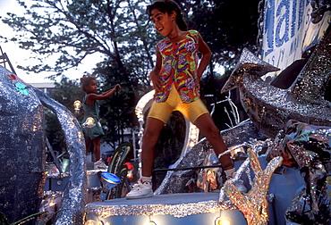 Young dancers on a float, Carnival, Santiago de Cuba, Cuba