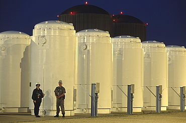 Dry Cask storage. Twelve dry casks in a storage facility at Prairie Island Nuclear Generationg Station, MN.
