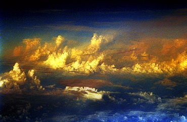 Aerial shot of the clouds at dawn, dusk.