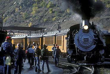 Coal-fired, steam-powered locomotive at the home yard of the Durango & Silverton Narrow Gauge Railroad, Durango, Colorado