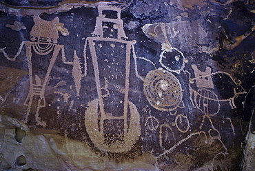 Prehistoric Fremont rock art (petroglyphs) in Dinosaur National Monument in Utah and Colorado