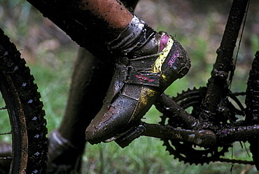 Muddy racer at a mountain bicycle race held in Durango, Colorado in 1992 during the first years of the sport. Durango was and has been a Mecca for Mountain bikers throughout the nation.