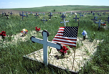 A cemetery on an Indian Reservation, South Dakota