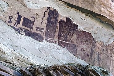 Badly damaged prehistoric pictographs of Fremont origin in Temple Wash, central Utah