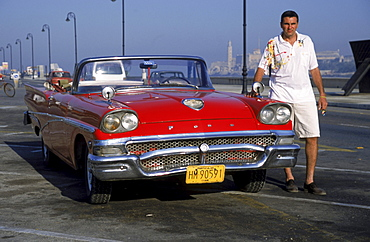 1957 Ford Convertible, near harbor, Havana