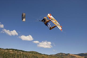 Reuben Lenten flies high above Hood River and lets it all hang out.