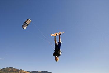 Reuben Lenten flies inverted above Hood River and lets it all hang out.