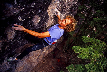 "Jim Hurst climbing ""Big Bird"" rated 5.12 near Telluride, Colorado, USA"
