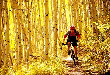 Alex Grant rides his bike on a dirt trail in Park City, Utah.