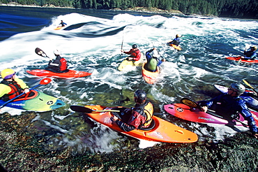 A group of kayakers wait their turn to surf on the Skookumchuck wave on the Sunshine Coast of BC, Canada