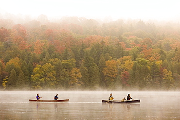 Two young couples canoe on Lake Placid on early autumn morning, Lake Placid, New York, USA.