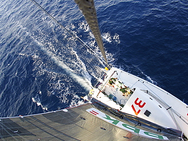A Spanish racing yacht sailing in Australia. Test sailing in preparation for the around-the-world sailing challenge.The skipper is Unai Basurko de Miguel.