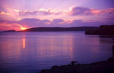 Lesvos. Greece. Sunset at Sigri.