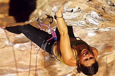 Mandoline Masse-Clark climbs Turtle Wax, 5.11b. Calico Basin, Red Rocks, Las Vegas, Nevada, USA.