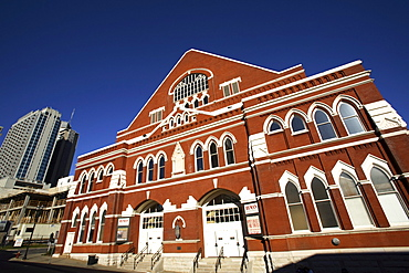 The front of the legendary Ryman Auditorium in downtown Nashville, TN