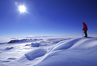 Shaun Norman, Antarctic Mountaineer, searches for a route across the Polar Plateau.