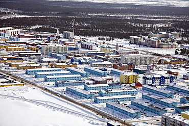 Small oil production village near the oil production city of Surgut in western Siberia, Russia