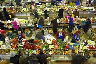 An indoor Russian market in Irkutsk, Siberia, Russia.