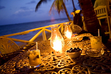 A beach bar at sunset in the Dominican Republic