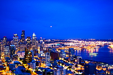 SEATTLE, WASHINGTON, USA. A view of downtown Seattle from the Space Needle at night. (tilt shift)