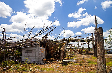 PLEASANT GROVE, ALABAMA, USA. Tornados ripped through this small town outside Birmingham, AL flattening almost every building and every tree.