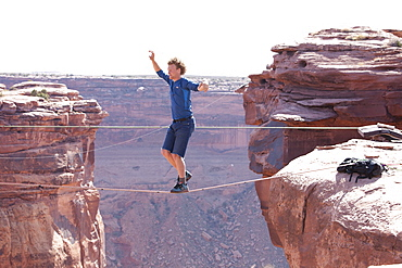 Andy Lewis free soloing a highline at the Fruit Bowl in the film Sketchy Andy, Moab Utah